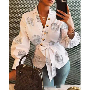 Women Button Blouse Shirt 2019 Female Clothing Long Sleeve Blusas Casual Women's Office Blouses Print Letter Lady Top