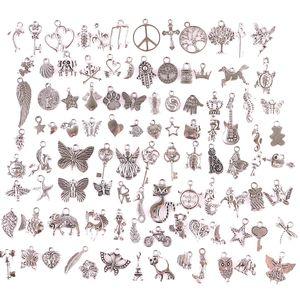 23210 100PCS Mix Tier, Pflanze, Schlüssel, Anhänger Vintage antike Silber Minilegierungs-hängende DIY Schmuckherstellung