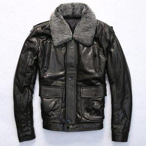 jakcet hiver Casual col en laine de mouton noir manteau de cuir veste pilote épais pour les hommes