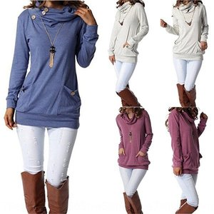 2019 women's solid color long sleeve stack collar pocket button decorative sweater pullover Button pullover