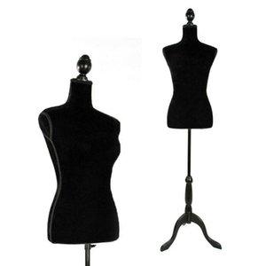 Torso femenino del maniquí la forma del vestido Ropa de pantalla Negro Trípode perchero Modelo