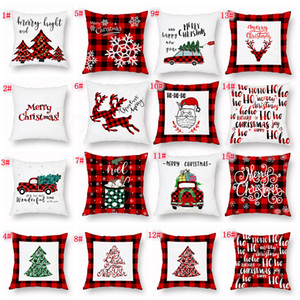Xmas Pillow Case Plaid Merry Christmas Cushion Covers Christmas Tree Deer Truck Cushion Home Party favor gift Decorative FFA3319C