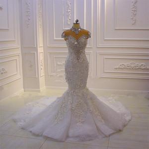 Lüks Yüksek Boyun Kristal Boncuklu Mermaid Gelinlik Vintage Arapça Dubai 3D Çiçekler Artı Boyutu Gelin Kıyafeti
