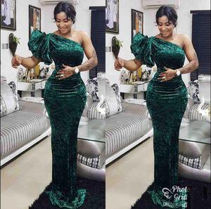 Elegante grüne One Shoulder Meerjungfrau Abendkleider Samt bodenlangen nach Maß südafrikanischen 2020 Prom Kleider VEstido De Festo
