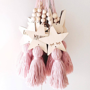 Nordic Style Cute Star Shape Wooden Beads Tassel Pendant Kids Room Decoration Wall Hanging Ornament for Photography