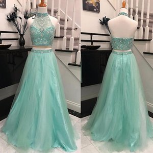 Pretty Mint Green 2 Pieces Prom Gowns 2020 Bling Bling Crystal Beaded Tank Long Tulle Skirt High Neck Prom Dress Vestidos De Formatura