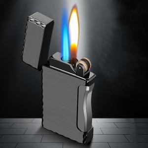 2 en 1 cigarette torche Briquet 1 Jet Butane gaz cigare coupe-vent poche en métal léger pour la cuisine Blue Flame JX36