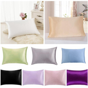 Luxury Solid mulberry Silk Pillow Cases 76*51CM Double Face Envelope Silk Pillowcase Charmeuse Silk Satin Pillow Cover LJJA3521-2