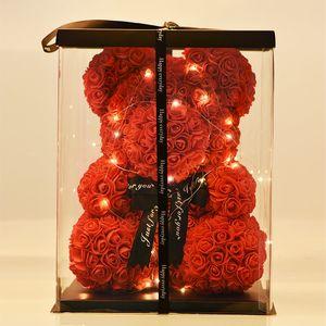 Großhandel 40cm Bär von Rosen mit LED-Geschenkbox Teddybär Rose Seifenschaum Blumen Künstliche New Year Geschenke für Frauen Valentines