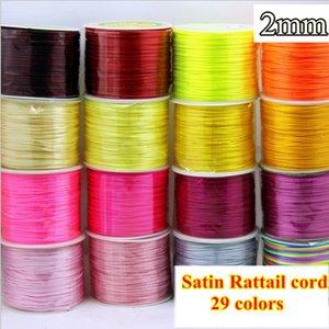 29 color Rattail Braided Nylon Cord Satin String 2mm Shamballa Macrame DIY beading cord Kunihimo bracelet free shipping 200 yard