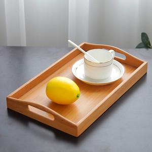Bandeja de almacenamiento 1pc Inicio Práctica estilo japonés de bambú de madera sólida del rectángulo de escritorio con vajilla Bandeja de almacenamiento de la fruta de la manija
