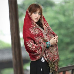 2019 Women long wool scarf female warm Shawls and Wrap Scarf Ethnic style cashmere scarves for girls foulard femme
