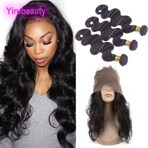 Peruvian Virgin Hair 4 Pieces lot Body Wave 360 Lace Frontal With Bundles Body Wave Natural Color Human Hair Wefts With Closure