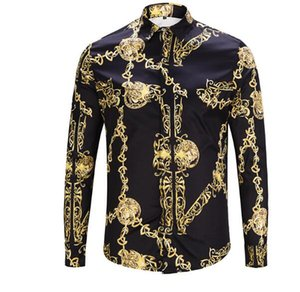 2019 New Mens Dress Shirts Fashion Harajuku Casual Shirt Men Medusa Black Gold Fancy 3D Print Slim Fit Shirts y