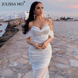 JULISSA MO Double Mesh Sexy Long Party Dress Women Off Shoulder Bodycon Summer Dress Female Red Strapless Split Dresses Vestidos T200624