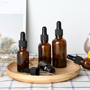 5-50ml Brown Dropper Drop Amber Glass Aromatherapy Liquid for essential basic massage oil Pipette Bottle Refillable Bottles