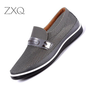 2019 Men Mesh Shoes Male Summer Breathable Casual Shoes Slip On Father Flat Soft Walking Footwear for Men Driving
