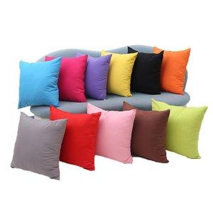 45*45cm Home Sofa Throw Pillowcase Pure Color Pillow Case Polyester Cushion Cover Candy Color Decorative Pillow Cover Christmas Decor Gift