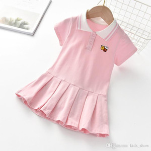Girl Kids Lace Lapel Collar Embroidery Bee Short Sleeve Dress Kids Elegant Summer Baby Girl Designer Clothes