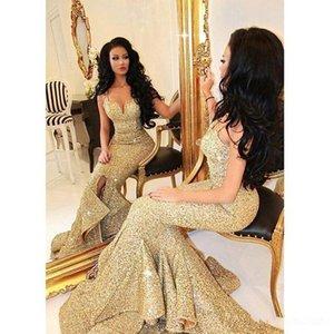 Altın Spagetti sapanlar dökümlü Ruffles Resmi Abiye Sweetheart payetli Denizkızı Gelinlik Modelleri ünlü Afrikalı törenlerinde de soiree elbiseler