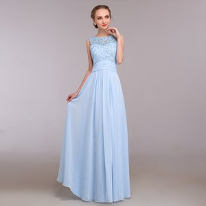 Floor-Length Sky Blue Chiffon Evening Gowns Beading Chiffon Long Evening Dress Sexy With Lace Top Evening Gown