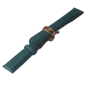 Watchband Genuine Leather Green With gold buckle Lizard Grain Cowhide leather Watch accessories strap butterfly buckle 14mm 16mm 18mm 20mm
