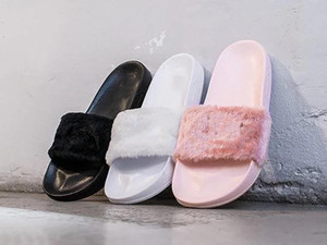 топ Qualita Leadcat Fenty Rihanna обувь для женщин тапочки крытый сандалии девушки мода потертости розовый черный серый мех слайды