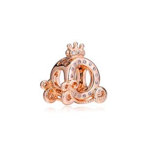 Yeni 925 Gümüş Boncuk Charm Rose Gold Kabak Taç Taşıma ile Kristal Boncuk Fit Marka Charm Bileklik Bileklik Diy Takı