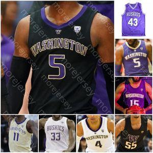 Özel W Huskies Basketbol Jersey NCAA Kolej İşaya Stewart Jaden McDaniels Carter Quade Yeşil Bey Wright Fultz Murray Ross Thomas Roy