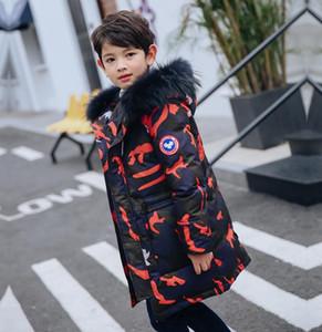 Çocuklar sıcak kalın kıyafetler erkek giyim çocuk parkalar aşağı% 80 beyaz ördek için moda kamuflaj uzun hoodies kat outerewear kış erkek