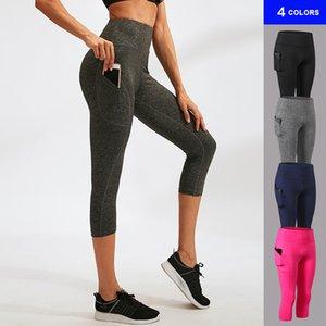 femininas Capri Leggings macias Atlético Calças controle da barriga desempenho de compressão calças justas recortada Pant Yoga com o Pocket