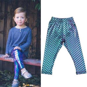 Bebê menina Personalidade Tendência Sereia calças Fluorescentes Azul Magro leggings crianças calças crianças roupas de grife meninas DHL JY355