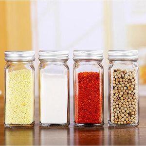 Titular de la especia tarros de cocina del organizador del almacenaje de contenedores vacíos botellas de vidrio sazonar con herramientas cubren las tapas de cocina que acampa 120pcs T1I2065