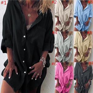 Мода льняных Женщин Футболка с длинным рукавом Кнопка Блуза с карманом вскользь отворот шея Рубашкой Кардигана Ladies Дизайн Блуза верхней одеждой S-2XL