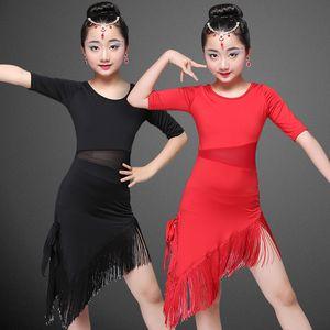 Modern Girl Latin Dance Dress pour les filles jupe Salsa Ballroom enfant Robe de danse Concours Dancewear Costumes pour enfants Danse