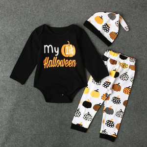 kids clothes girls boys pumpkin outfits Halloween children romper+pants with hat 3pcs set 2020 Spring Autum baby Clothing Sets C481