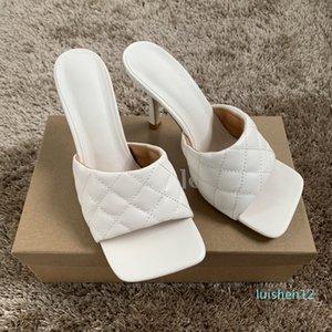 9cm Womens verão Salto Alto Chinelo Mulher couro branco Praça Peep Toe Sandals Senhoras Sandal Shoe Bombas Chaussure l12