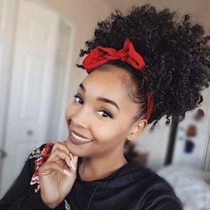 Бразильские волосы слоеные, афро-американского афро Короткого Kinky завитой резинка Remy Drawstring Ponytail Наращивание волосы с зажимами 120г