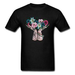 Discount Men T-shirts Bohemian Bouquet T Shirts Print Tops Shirt Cotton Flower Print Woman Clothes Black Drop Shipping