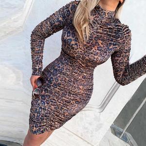 Verano de la manga de Bodycon de los vestidos de las mujeres ocasionales Sexy Nigh Club de las mujeres del vestido del diseñador del leopardo vestido largo