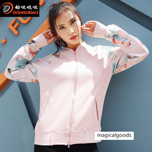 Sports Sweater Coat Printing Loose Running Fitness Yoga Long Sleeve Leisure Top Female
