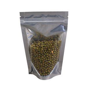 Vários tamanhos 100pcs Translucent Clear / prata Auto Seal Metallic zip lock Bolsas Stand Up Storage Bag Package