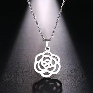 DOTIFI Collier en acier inoxydable pour les femmes Rose Hollw Motif Choker collier pendentif bijoux de fiançailles