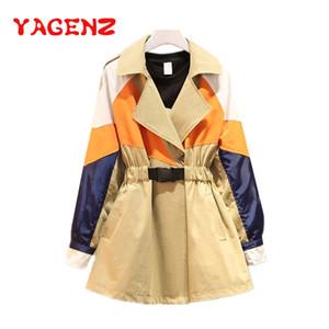YAGENZ Além disso casaco para Brasão Mulheres Roupa Primavera Outono Trench Magro Outwear Feminino Windbreaker Coats Ropa Mujer 667 tamanho Trench