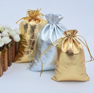 New 10sizes sacos do presente da forma do ouro / prata banhado Gauze Satin jóias sacos de Natal Bolsas Saco 6x9cm 7X9cm 9x12cm 13x18cm A0188
