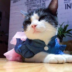 Pet Supplies Primavera / Outono Filhote De Cachorro De Pelúcia / Gatos Saia Respirável Moda Outwears Vestido De Casamento De Algodão Rosa Bonito