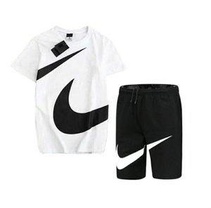 Designer Herren Kleidung Sommer Mode trend Sport Kurzarm Anzug mit Druckmuster Herren Freizeitkleidung in schwarz und weiß