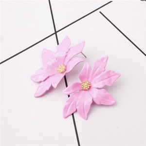 Большие бренды Европейский сплав цветок серьги сладкие натуральные аксессуары мода красочные сплава универсальный серьги