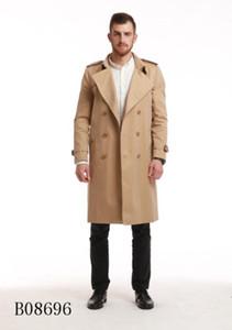 HOT CLASSIC! 남성 패션 영국 스타일 긴 트렌치 / 남자 / 남자 브랜드 Trenches B8696F390에 대한 고품질 면화 더블 브레스트 트렌치 코트