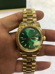 Se connecter à double calendrier 218238 série 36mm cadran vert or 18 carats cas des hommes de saphir d'origine montre mécanique automatique